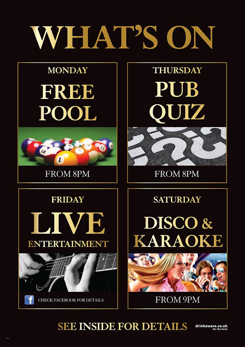 pool,pub quiz,live entertainment,Disco & Karaoke